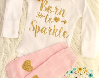Infant Girl, Newborn, Baby Girl, Coming Home, Going Home, Baby Shower, Gold Sparkle, Born To Sparkle Outfit
