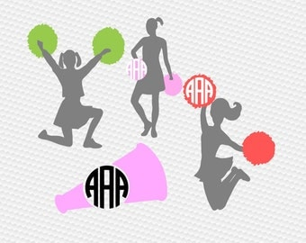Cheerleader megaphone monogram SVG Clipart Cut Files Silhouette Cameo Svg for Cricut and Vinyl File cutting Digital cuts file DXF Pdf Eps