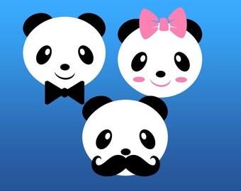 panda svg, panda head svg, bear svg, panda face svg, SVG, Dxf, Eps, Png, Pdf, cut file, svg file, cricut, cameo, silhouette, panda bear svg