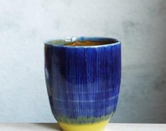 tea cup, coffee cup, modern, unique pottery, handmade ceramics, texture, dark blue, designer ceramics