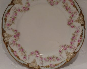 Limoges France Pink Flowers with gold 6 inch Plate