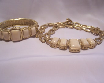 Matching Goldtone  Necklace and Bracelet with Pale Pink Emerald Cut Stones