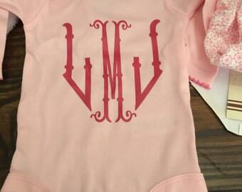 Monogrammed Onesie - Personalized Onesie - Baby Girl Onesie - Monogram Bodysuit - Custom Onesie -