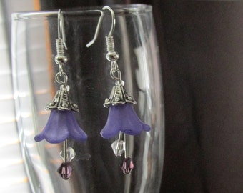 Lucite Flower Earrings - Purple or White