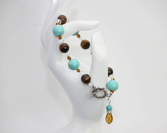 Tigers Eye and Blue Turquoise Stone Beaded Bracelet. Handmade Jewelry