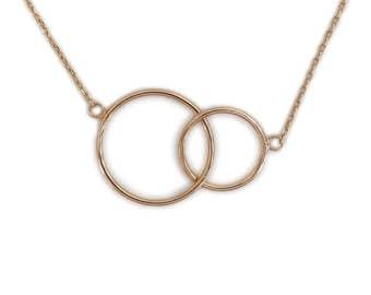 Necklace interlaced plate gold - Ras neck (37cm) short (45cm)