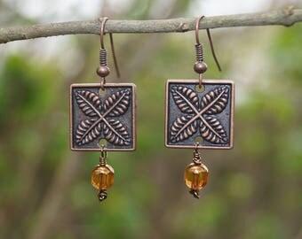 Leaf Motif Dangle Earrings