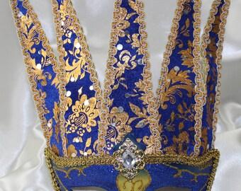 Mens Venetian Bright Blue Gold Jester Joker Venetian Masquerade Eye Mask Medieval Style- Quality Replica 1775K