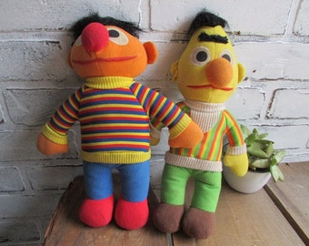 Bert and Ernie Plush Dolls Vintage Sesame Street Toys