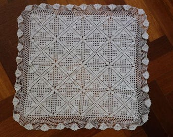 Square ivory crochet table topper or doiley. Proceeds to charity VACD Ltd
