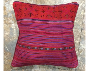 Handmade Flower Hmong embroidered cotton pillow cover