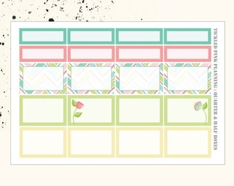 BLOOM AND GROW | Quarter and Half Boxes | Planner Stickers | Erin Condren Vertical