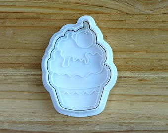 Cherry Cup Cake Cookie Cutter and Stamp