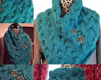 Made to Order - Cabled Bandana Cowl with Alice in Wonderland-Themed pendants