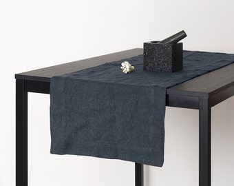 Grey Linen Table Runner,Natural Table Linens,Gray Washed Table Linen,Stone  Washed