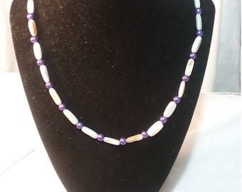Italian Renaissance inspired shell and glass pearl necklace in purple and greys