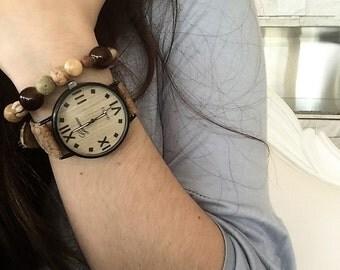 Brown textured beaded bracelet