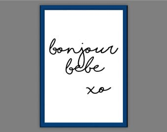 Bonjour Bebe Typography Wall Art Print Quote