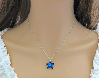 Blue  Starfish  Swarovski  Crystal  Necklace  in Sterling Silver, Birthday Gift, Summer Jewelry, Bridesmaid Gift, Free Domestic Shipping