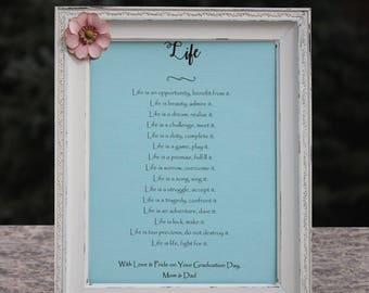 Graduation Gift Mother Teresa Quote Poem About Life High School Graduation Gift College Graduation Gift for Her or Him Personalize Grad Gift