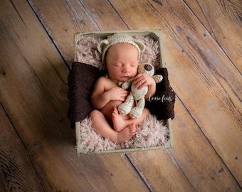 Newborn Bear Set - Bear - Bear Bonnet - Bear Hat - Bonnet - Hat - Stuffed Bear - Newborn Prop - Photography Prop