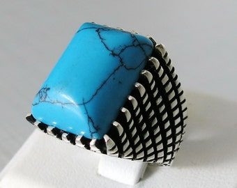 Handmade  925 Sterling Silver Natural TURQUOISE Stone Men's RING #C68