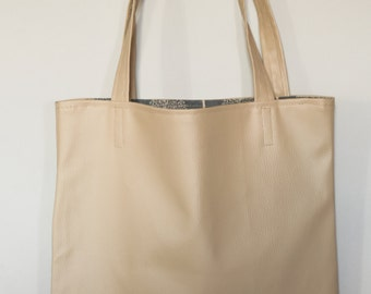 Tote bag faux leather beige