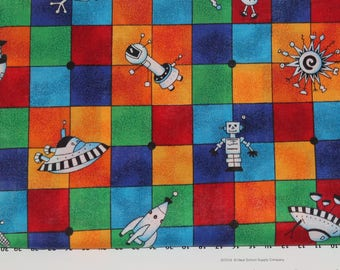 Alien Cotton Quilt Fabric Cranston Prints UFO Primary Colors Spaceship - 1/2 yard