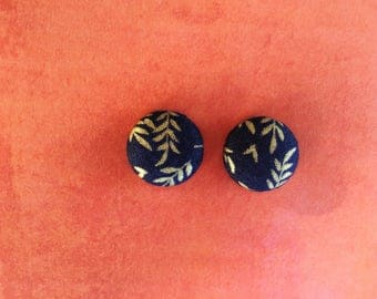 Gold Leaves on Dark Blue Fabric Button Earrings