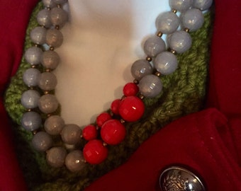 Red/Grey Double Beaded Necklace (Premier Designs) (J24)