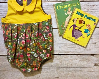 Baby Romper, Bubble Romper, Peter Pan Collar Romper, Toddler Romper, Bubble Playsuit, Newborn Outfit, Birthday Outfit, Mustard Baby Romper