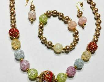 Smoke Fumee Glass Pearls Necklace set (Necklace, Earrings and bracelet)