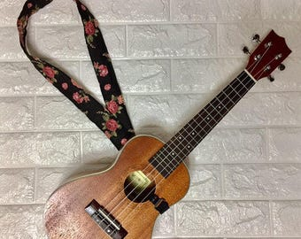 NuovoDesign Black Flowers Ukulele Strap floral fabric with plastic hook. Free size