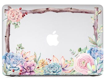 Macbook Skin Pastel Succulent Garden - full set