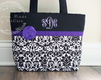 Custom Damask Pleated Handbag with Monogram, Tote, Purse, Bag, Handmade, Free Shipping