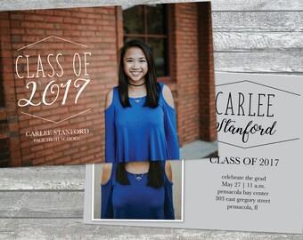 High School Senior and College Graduation Announcement, Graduation Invitation, 5x7 JPEG or PDF file