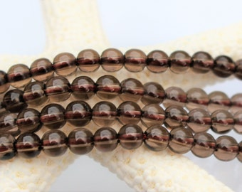 4mm Smoky Quartz Beads, Round - Half Strand, Natural, Gemstone, Brown Beads, 4 mm, 4mm Beads, Smokey Quartz