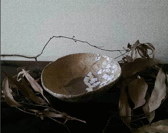 white raku clay ceramic bowl