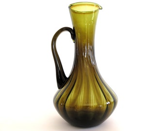 Vintage Empoli Olive Green Glass Pitcher Optic Twisted Ribbed Panel Hand Blown Italian Art Glass