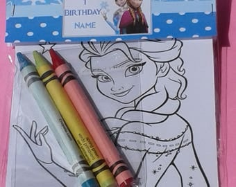 10 set of custom Frozen birthday party favor bags with small coloring designs and crayons/thanks for coming/Frozen/First birthday