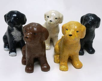 Hand-painted ceramic puppies and dogs