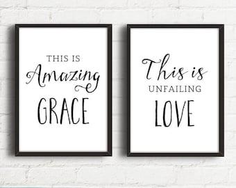 Christian Wall Art, Hymn Art Signs, This is Amazing Grace, Wall Art Print Set, Scripture Art, Scripture Printable, Digital Print Set