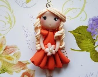Necklace doll flower orange salmon