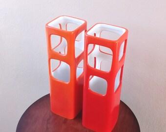 Vintage Candle Holder Porcelain Lantern Orange Ceramic Candle Burner Orange Pillar Candle Holder Candlestick Holder Tealight Candlestick Set