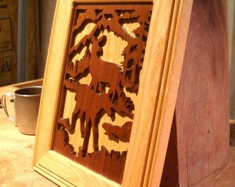 Wooden Scrolled Picture of Deer & Moose-  Cabin Decor- Wooden Wildlife Cut-Out
