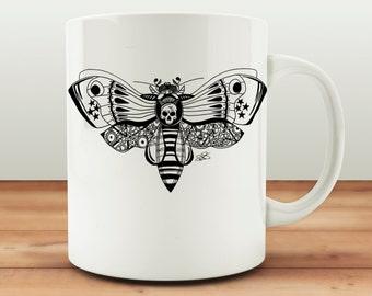 Zentangle Style Mug, Steampunk Bee Cup, Steam Punk Butterfly, Hand Drawn Design, Fiona Fletcher, Skull Bug Mug, Alternative Gift Ideas