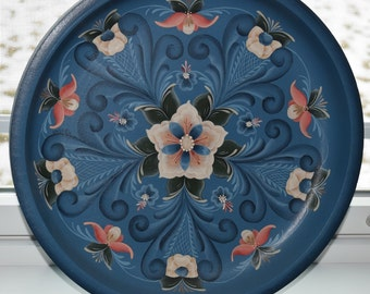 Plate, handpainted, floral, shallow wooden bowl,