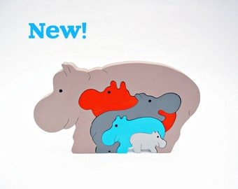 Animals Puzzle Wooden Toys Learning Toys Handmade Eco Hippos Toys for Kids Baby Shower