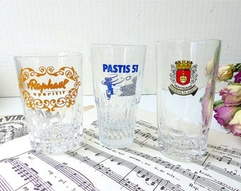 Object advertising old French set of 3 glasses of Pastis 51 St Raphael Raphael Pastis Anisette FRANCE decoration DUval Pastis Bar Bistro