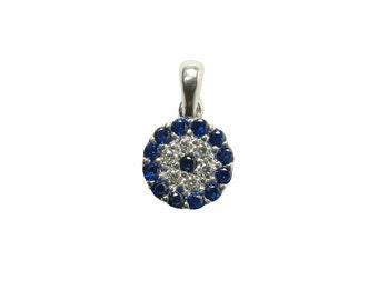 Evil Eye Charm 925 Sterling Silver Blue Cz Evil Eye Pendant, Turkish Evil Eye Bead, Jewelry Making
